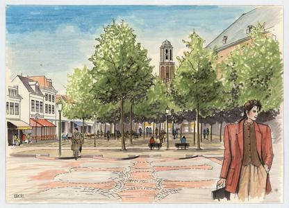 219 -TP001102 Presentatietekening van inrichting van het Grote Kerkplein met op de achtergrond de toren van de Onze ...