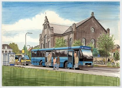 258 -TP001105 Presentatietekening van de Ter Pelkwijkpark met Plantagekerk gezien vanuit het noord-oosten. Op de ...