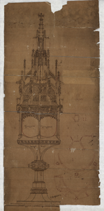 260 -TP001107 Inkttekening van een monstrans die gebruikt werd in de Onze Lieve Vrouwenkerk. In de beschrijving van ...