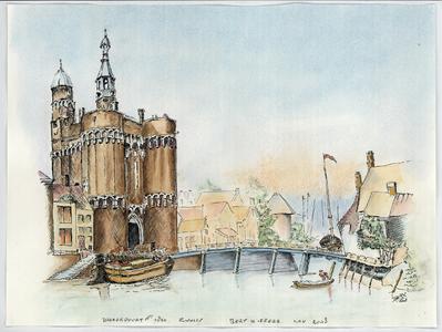 266 -TP001113 Inkttekening van de Diezerpoort en de Stadsgracht rond 1824. Ingekleurd met aquarelverf. Voor de ...