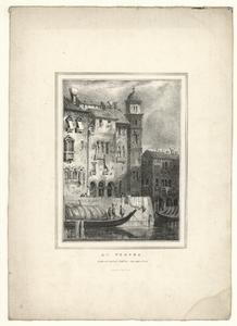 41 -TP000996 Afbeelding van diverse gebouwen, in Verona met op de voorgrond in een schip drie mannen.