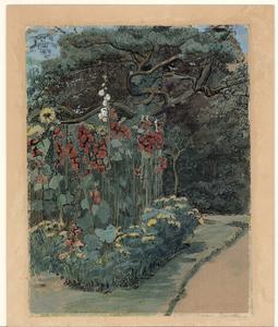 423 -TP000635 De tuin achter het huis van de familie Thiebout aan de Burgemeester van Roijensingel 14., 1910