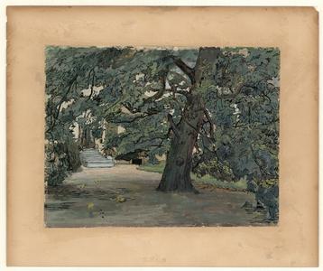 424 -TP000636 De tuin achter het huis van de familie Thiebout aan de Burgemeester van Roijensingel 14 in Zwolle., 1910
