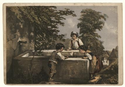 43 -TP000998 Afbeelding van drie kinderen bij een bron. Ze laten een bootje varen in het waterbekken.