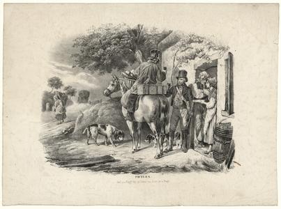 46 -TP001001 Afbeelding van een man op een paard met een glas wijn in zijn handen. Hij toost naar een man die naast hem ...