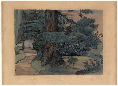 463 -TP000639 De tuin achter het huis van de familie Thiebout aan de Burgemeester van Roijensingel 14 in Zwolle., 1910