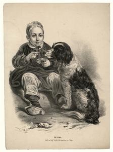 47 -TP001002 Afbeelding van een jongen die en stukje brood op de neus van de hond naast hem legt.