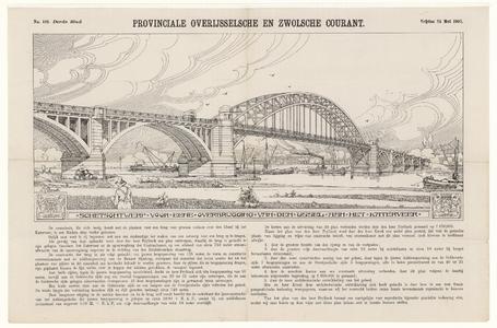 481 -TP000657 Presentatietekening van een brug over de IJssel bij het Katerveer, vanuit het zuidwesten. Onder de ...