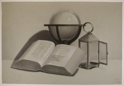 488 -TP000664 Stilleven met geopend boek, globe en lantaarn gemaakt 1897 op de Stadstekenschool te Zwolle. Tekening ...