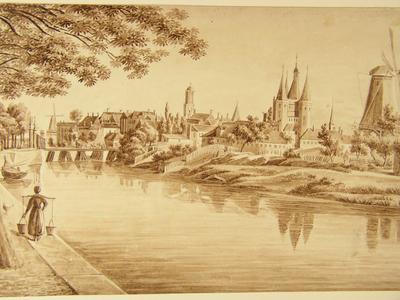 492 -TP000102 Gezicht op Zwolle vanuit het noord-oosten met stadgracht, de Sassenpoort, oude Sassenpoortenbrug en een ...