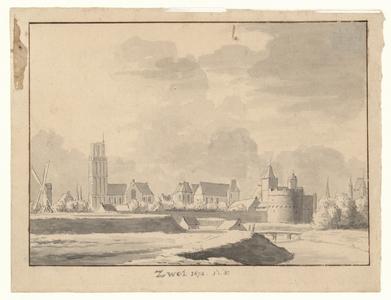 495 -TP000105 Gezicht op Zwolle vanuit het zuiden met Onze Lieve Vrouwekerk en Peperbus zonder spits, Grote- of St. ...
