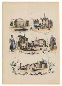 501 -TP000111 Prent met afbeeldingen betreffende Overijssel: Paleis van Justitie te Zwolle, de Waag in Deventer, Grote ...