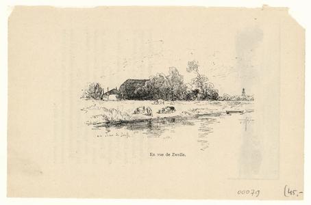 507 -TP000117 Gezicht op boerderij met hooiberg, op de voorgrond rundvee, rechts op de achtergrond de Peperbus.Tekst ...
