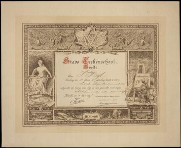 529 -TP000678 Diploma Stads-Tekenschool Zwolle voor Vincent Bijl (geb. Pasoeroean Ned OIndie 1874-overl. 1950 Arnhem) ...