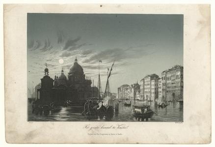 53 -TP001008 Afbeelding van een het grote kanaal van Venetië. Rechts zijn huizen te zien, links zijn de contouren van ...