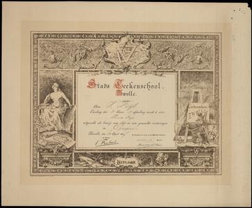 530 -TP000679 Diploma Stads-Tekenschool Zwolle voor Vincent Bijl (geb Pasoeroean Ned OIndie 1874-overl 1950 Arnhem) ...