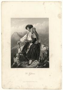 54 -TP001009 Afbeelding van een man een een vrouw die samen op een steen zitten. Aan hun voeten ligt een hond.