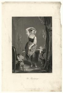 55 -TP001010 Afbeelding van een kamermeisje dat poseert met een stoffer en blik in haar handen.