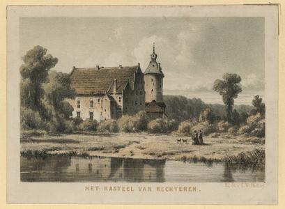 557 -TP000706 Afbeelding van het kasteel van Rechteren, aan de Vecht tussen Dalfsen en Vilsteren., 1850
