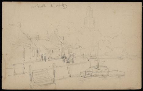 558 -TP000707 Schets van Zwolle, met gezicht op de Friese Wal met de Peperbus op de achtergrond., 1879-10-06