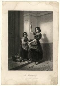 56 -TP001011 Afbeelding van twee meisjes. Eentje houdt een mand met bloemen vast en trekt aan een touwtje.
