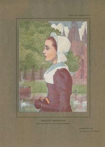 562 -TP000140 Portret van een Zwols weesmeisje, op de achtergrond de Sassenpoort. Burgemeester van Roijensingel. ...