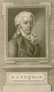 571 -TP000149 Portret van Gerrit Jan Peijman, borstbeeld naar rechts, in rechthoekige lijst; basement met naamplaat. De ...