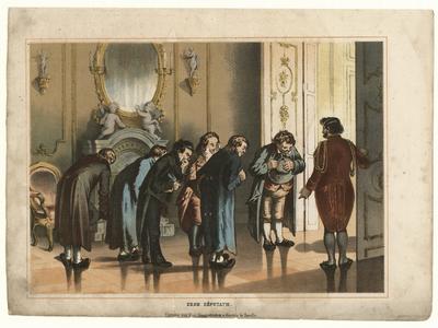 58 -TP001013 Afbeelding van zeven manen, waarvan er zes buigen. De zevende man opent een deur.