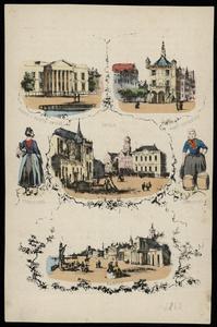 596 -TP000709 Diverse stadsgezichten van Zwolle, Kampen en Deventer, en twee personen in Overijsselse klederdracht., 1863