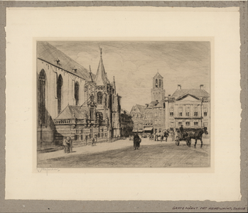 601 -TP000714 De Grote Markt met links de Hoofdwacht., 1915