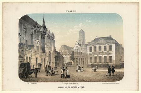 607 -TP000720 Afbeelding van de Grote Markt in Zwolle, met op de voorgrond mensen. Links de Hoofdwacht, rechts de ...