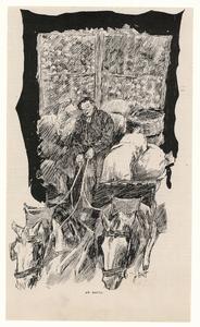 65 -TP001020 Afbeelding van een man op de bok van een wagen vol met aardappels. Hij ment twee paarden.