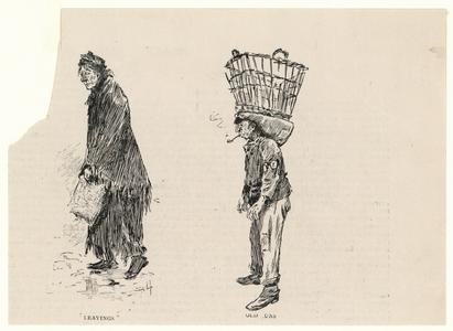 66 -TP001021 Afbeelding van een vrouw en een man. De vrouw ziet er verslonst uit en de man draagt een rieten mand op ...