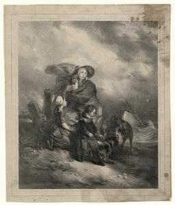 75 -TP001030 Afbeelding van een vrouw met kinderen die in een storm aan de waterkant staat. Op de achtergrond is een ...