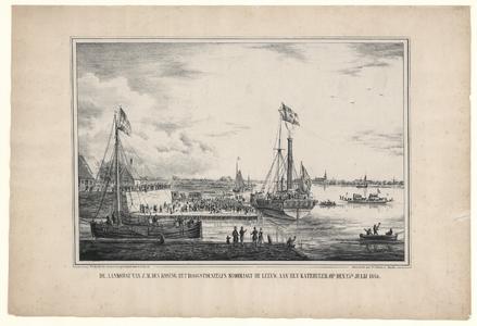 855 -TP000292 Het stoomjacht De Leeuw, met koning Willem-II (1792-1849) aan boord, aan de kade van de Katerveersluis, ...