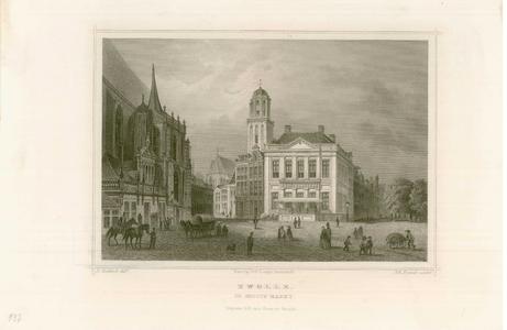 860 -TP000297 Gezicht op de Grote Markt; links de Hoofdwacht en het portaal van de Grote Kerk, in het midden gebouw De ...