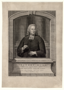 924 -TP000325 Portret van Joannes Klap (geb. Amsterdam 1733-overleden 05-12 1790 te Amsterdam), Luthers predikant, te ...
