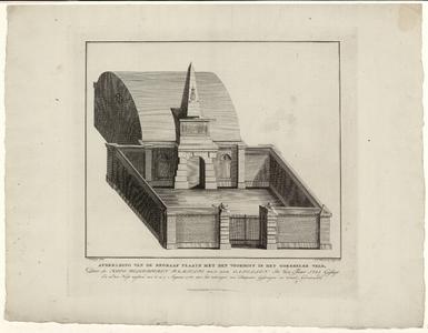 928 -TP000329 Bouwkundige tekening in isometrisch perspectief van het grafmonument van de familie Van der Capellen ...