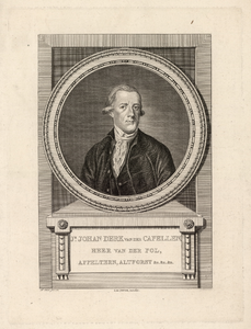 930 -TP000332 Portret van Joan Derk van der Capellen tot den Pol (1741-1784), borstbeeld van voren, in rond medaillon, ...