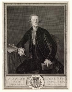 931 -TP000333 Portret van J.D. van der Capellen tot den Pol (1741-1784); kniestuk van voren, zittende aan een tafel met ...