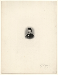 934 -TP000337 Portret van E.J. Potgieter, borstbeeld naar links, met kalotje op het hoofd.