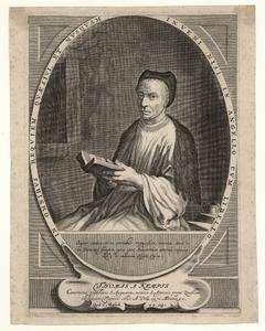 936 -TP000339 Portret van Thomas a Kempis, ca. 1470, kniestuk naar links, zittende, in kloosterkleding, met muts op, ...