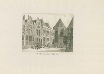 946 -TP000351 Reproductie (van een natekening van Cornelis Pronk) van het Stadhuis, gezien vanuit de Sassenstraat naar ...