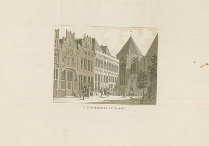 947 -TP000352 Reproductie (van een natekening van Cornelis Pronk) van het Stadhuis, gezien vanuit de Sassenstraat naar ...