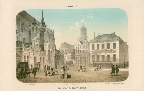 989 -TP000358 De Grote Markt, met links de Grote Kerk en Hoofdwacht, midden onder andere huis De Drie Flesjes (tabak) ...