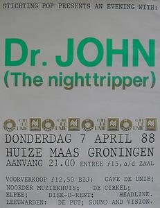 Stichting Pop : affiche optreden Dr. John (The Nighttripper) in Huize Maas