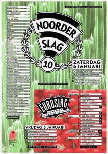 affiche Euroslag Noorderslag 1996, gecombineerd <br/>Elzo Smid plus <br/>Stichting Noorderslag <br/>5-6 januari 1996 <br/>concertaffiche <br/>De Oosterpoort <br/>het is het eerste jaar dat er zowel een affiche is voor <br/>Euroslag, Noorderslag als voor beide festivals samen