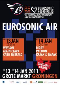 Affiche Eurosonic Air 2011 <br/>Rocket Industries <br/>Stichting Noorderslag <br/>13, 14 januari 2011 <br/>concertaffiche <br/>De Oosterpoort <br/>Eerste editie van Eurosonic Air, n.a.v. 25ste editie <br/>(Eurosonic) Noorderslag