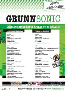affiche Grunnsonic 2009 <br/>Studio Frank & Lisa <br/>Productiehuis Popcultuur Groningen, Eurosonic Noorderslag <br/>15-16 januari 2009 <br/>concertaffiche <br/>i.p.v. The Kickers speelt Duroc; Café De Walrus ontbreekt als podium, maar wordt uiteindelijk wel in het programma van <br/>Grunnsonic opgenomen