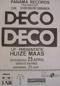 Beschrijving: affiche elpee presentatie Deco Deco <br/>Ontwerper: <br/>Fotograaf: <br/>Uitgever: <br/>Datum evenement: 25 april 1979 <br/>Type: <br/>Techniek: <br/>Verwerving: <br/>Bijzonderheden:Panama Records presenteert i.s.m. Stichting Pop Groningen <br/>Gelegenheid:elpee presentatie <br/>Locatie: Huize Maas in Groningen <br/>